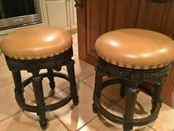 2 Frontgate Provencal Grape Backless Bar Counter Barstools Leather Stool Chair
