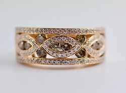14k Rose Gold White Round Diamond And Brown Diamond Designed Band Ring Size 7.25