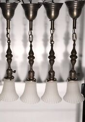Wired Set Of 4 Four Antique Pendant Light Fixtures With Frosted Shades 58 Long