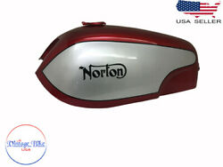 Fit For Norton Commando Fastback Red And Silver Painted Aluminum Petrol Tank + Cap