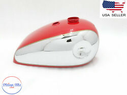 Bsa B33 2 Gallon Swinging Arm Red Painted Chrome Petrol Tank  fit For