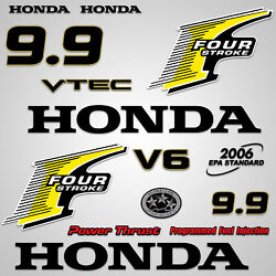 Outboard Engine Graphics Kit Sticker Decal For Honda 9.9 Hp Yellow