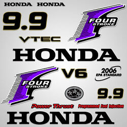 Outboard Engine Graphics Kit Sticker Decal For Honda 9.9 Hp Purple
