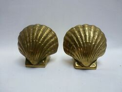 Vintage Sea Shell Clam Solid Brass Bookends Nautical Pair