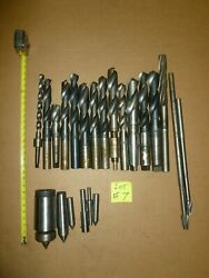 Lot Of 22 Taper Drilll Bits Milling End Mill Taps As Shown On Picture