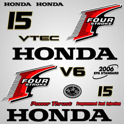 Outboard Engine Graphics Kit Sticker Decal For Honda 15 Hp Red