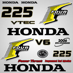 Outboard Engine Graphics Kit Sticker Decal For Honda 225 Hp Yellow