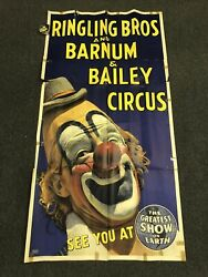 """Vintage Large Ringling Bros And Barnum And Bailey Circus Clown Poster 78"""" X 41"""""""