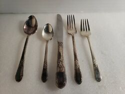 5 Pc Place Setting Rogers Bros 1847 Adoration Pattern Knife 2 Forks 2 Spoons