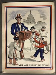 """1943 We've Made A Monkey Out Of You World War 2 Poster Ww Ii 20"""" X 15"""""""