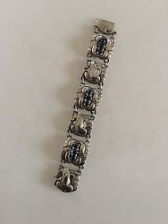 Georg Jensen Sterling Silver Bracelet No 32 With Synthetic Sapphires