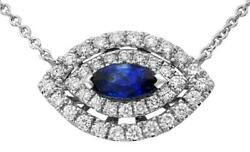 .93ct Diamond And Aaa Sapphire 18kt White Gold 3d Marquise Evil Eye Lucky Necklace