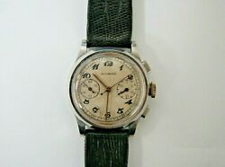 Movado Vintage Chronograph S/steel 30mm Smallest Watch Made By Movado From 1930