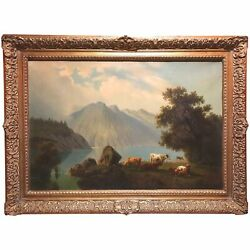 Rudolph Peter Bühl Landscape Oil Painting With Mountains And Cows 1865