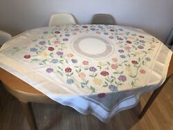 Vintage Pretty Double Damask Rayon Tablecloth Floral Sweet Pea Design