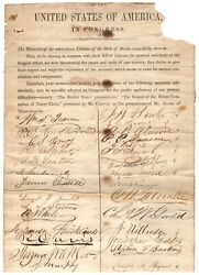 Important Civil War Document From Maine Residents Petitioning Congress For Peace