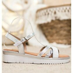 Small Swan Comfortable Sandals With Cubic Zirconia grey