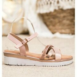 Small Swan Comfortable Sandals With Cubic Zirconia