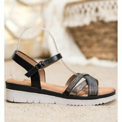 Small Swan Comfortable Sandals With Cubic Zirconia black