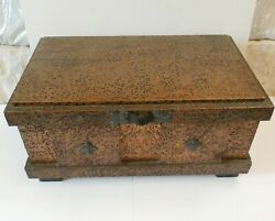 Vintage Arenson Studios 8k Brutalist Hammered Copper On Wood Coffee Table Chest