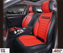 Deluxe Quality Red Black 1+1 Pu Leather Front Seat Covers Padded For