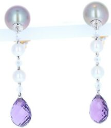 Chaumet 18k White Gold Pearl Diamond And Amethyst Drop Earrings With B And P