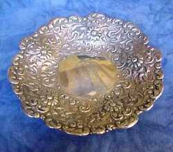 Early 20th Century 7 Inch Sterling Floral Design Repousse Serving Bowl