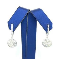 2.80 Tcw Round Diamonds Flower Cluster Shaped Pair Of Dangle Earrings 14k Gold