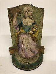 """Heavy Antique Cast Iron Doorstop Of A Woman Marked 172 7 1/4"""" X 5 1/2"""" X 3 1/2"""""""
