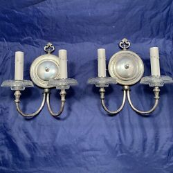 Pair Of Antique Nickel Plated Brass Sconce With Original Weathered Patina 28d