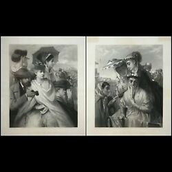 After William Holyoake Pair Of English Prints - Our Party At The Derby
