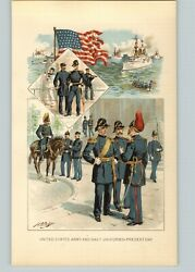 1905 Print American History United States Color Army Navy Uniforms 45 Star Flag