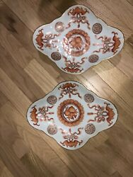 Mid-qing Dynasty Procelain Footed Bat Bowls Pair.andnbsp