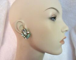 Coro Iridescent Stone And Ab Crystal Clip Earrings Spectacular Vintage --superb