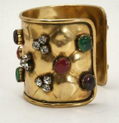 Vintage Gold-tone Quilted Cabochon Gripoix Crystal Cuff Bracelet Jewelry
