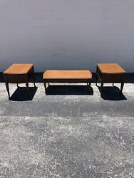 Set 3 Vintage Hammary 2 Night Stands And Coffee Table