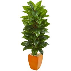 Large Leaf Philodendron Artificial Plant in Orange Planter (Real Touch) 5.5 Feet