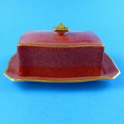 Royal Winton Mottled Red Butter Dish Crazing