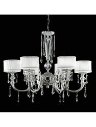 Chandelier Classic Brass Leaf Silver With Shades Tp 135-LA-6-04