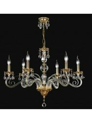 Chandelier Classic Crystal And Brass Leaf Gold Antique Tp 166-la-6-26