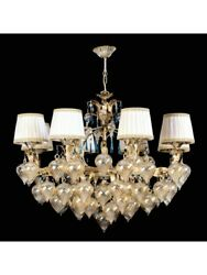 Chandelier Classic Glass Of Murano Amber and Blue With Shades Tp 172-LA-8-14