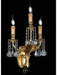 Wall Light Classic Brass And Crystal Tp 139-ap3-01