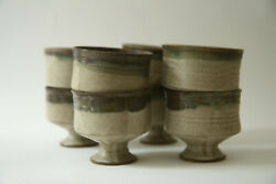 Set 8 Vintage Footed Cups Small Bowls Mcm Dishes Dessert Pottery Earth Tones