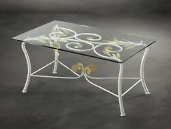 Table From Living Room Classic Wrought Iron And White Glass Gold