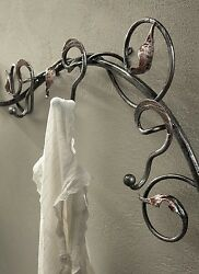 Hanger Wall Classic Rustic Wrought Iron Silver Black