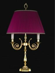 Table Lamp Flambeau Brass Leaf Gold And Lampshade Tp 157-lg2-01