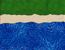 O Scale Lake Or Ocean Kit Model Train Scenery Sheets Featuring Water Sand Grass