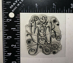 Thank You Butterfly Flowers Curved Lines Shapes Stamp