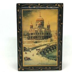 Beautiful Palekh Russian Lacquer Box Moscow Winter Scape Mockba Ussr Signed