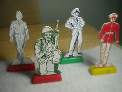 Vintage Military Personnel Plastic Standup Advertising Figures Toy As Pictured